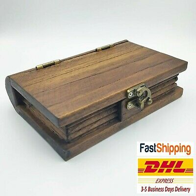Box Teak Wood Wooden VTG Storage Craft Trinket Handmade Book Shaped Antique