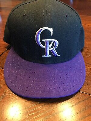 reputable site ce918 efd8a NWOT New Era Colorado Rockies 59Fifty Fitted Hat 7 5 8 (Black Purple