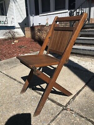 Vintage 40s-50s Antique Wooden Folding Chair Wood Slat Seat BeautifulGreat Shape