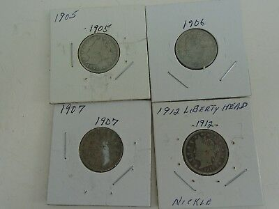 Lot of 4 Liberty Head Nickels 1905,1906,1907, & 1912