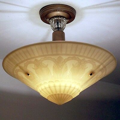 938 Vintage Antique art deco Phoenix Custard Glass CEILING LIGHT Lamp fixture
