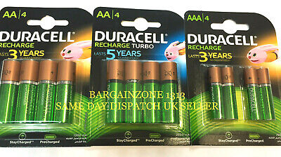 Duracell AA & AAA Rechargeable Ultra Stay Charged Batteries, HR6 HR03 Turbo UK