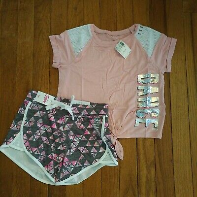 NWT Justice Girls Dance Top/Active Shorts Outfit  Size 6 7 10