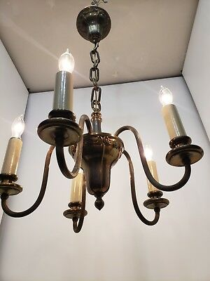 French Country Chandelier 5 Arm Brass Craftsman Rustic Patina Antique Vintage