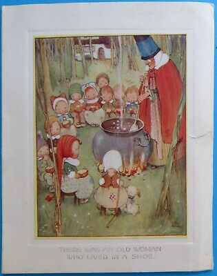 Vintage Mabel Lucy Attwell TUCK Birthday Card Old Woman who lived in a Shoe