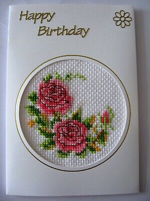 Birthday Card Completed Cross Stitch Roses 6x4""