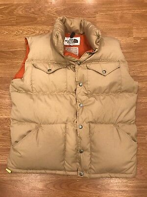 8e2e5cd68 THE NORTH FACE Vintage Brown Label Mens Down Puffer Vest Snap Buttons USA  Large