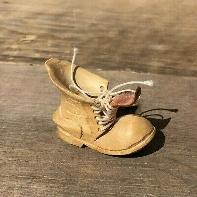**Vintage Small Hand Carved Wooden Shoe With Laces**