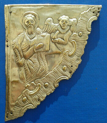 Ancient Bronze Book Cover  17 -18 century. Saint Matthew and the angel.