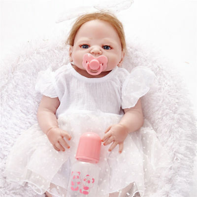 Full Body Silicone Vinyle 23inch Reborn Baby Girl Doll Toy Likelife Newborn gift