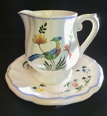 Gien Oiseaux de Paradis Faience Creamer + Saucer FRANCE Used Only for Display