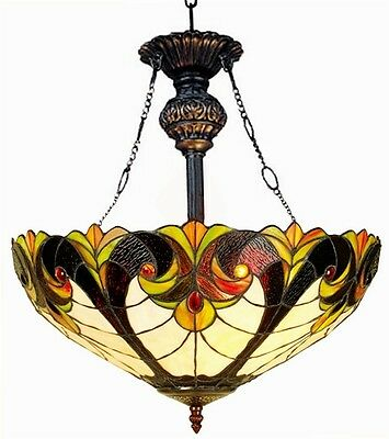 "Tiffany Style Stained Glass 18"" Hanging Victorian Design Ceiling Pendant Light"