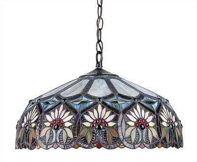 """Tiffany Style Stained Glass Ceiling Pendant Light Sunny Floral Design 18"""" Shade"""