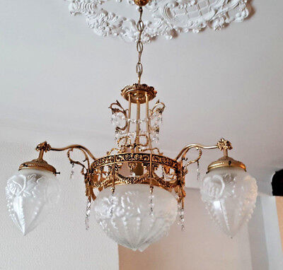 French Chandelier brass glass gothic dragon arms louis XVI decor  1960 n1