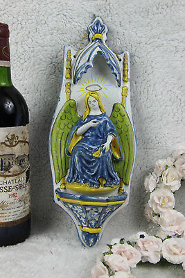 Antique italian majolica religious holy water font angel