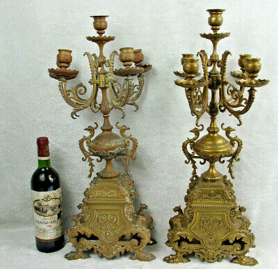 Antique PAIR Huge Bronze dragon gothic Candle holder candelabras lion paws