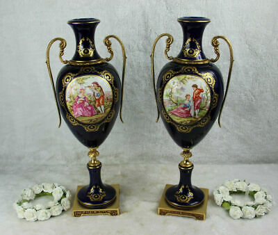PAIR large French limoges porcelain victorian romantic scene Vases