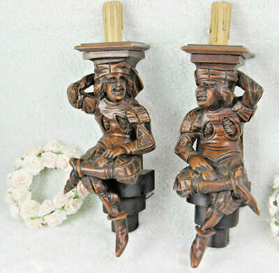 PAIR antique Breton wood carved Figurines couple Wall lights sconces 1930
