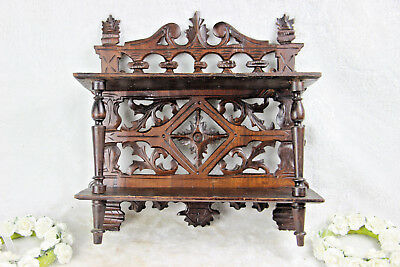 Black forest wood carved Wall shelf rack console floral 1950