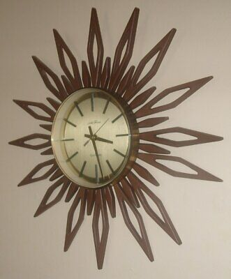 HUGE 70s VINTAGE RETRO SETH THOMAS TEAK EFFECT SUNBURST / STARBURST  WALL CLOCK