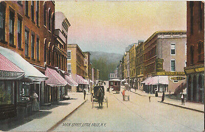S21.1238 Postcard Main Street Little Falls, NY Horse Buggy Trolley 1915