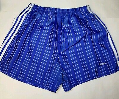 1d440db4fa VTG 80s 90s Adidas Running Shorts Large Trefoil Glanz Nylon 3 Stripes Blue  Shiny