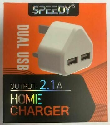 Speedy 2.1 Amp Fast Dual Twin 2 Port Usb Charger for Samsung S6 S7 S8 S9 S10
