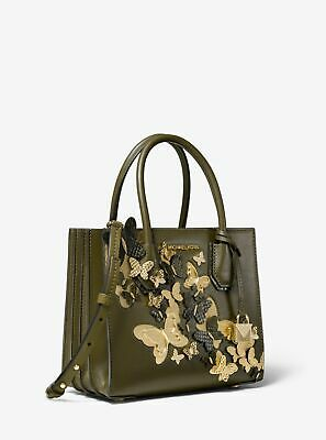 4e5ff6123e30d7 NEW Michael Kors Mercer Medium Butterfly Leather Crossbody Bag, Olive Green