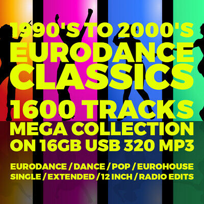 USB - 1990's-2000's Eurodance Classics - 1600 Tracks Mega Collection - 320 MP3