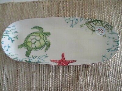 "PAPART CERAMICS Handpainted Oval 15"" Serving Platter-Coastal, Nautical, Seaside"