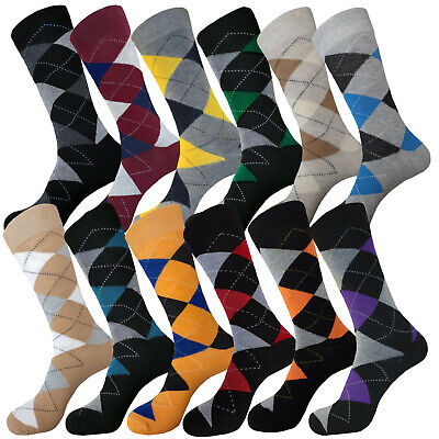 12 Pair Diamond Argyle Groomsmen Cotton Best Man Wedding Dress Socks Size 10-13