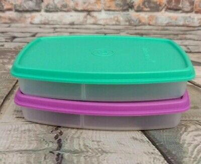 Tupperware Set of 2 Side by Side Lunch Snack Divided Container Violet Green Seal