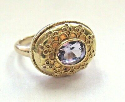 Vintage Real 10K Yellow Gold Filigree Ring w/ Synthetic Amethyst Stone  sz 4.5