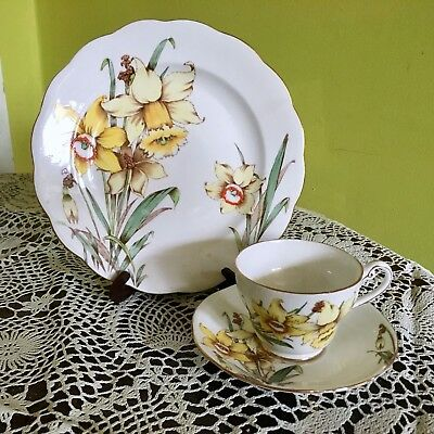 3 Pc. Royal Std Daffodil Bone China Golden Gleam Demitasse Cup/Saucer/Cake Plate