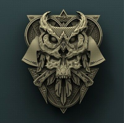 3d STL Model Relief for CNC Router  _ (0207) Owl Skull