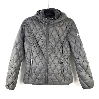 899b347e1 MICHAEL MICHAEL KORS Small Packable Down Fill Hooded Jacket Gray Quilted  Puffer