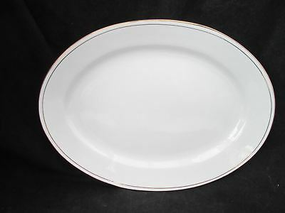 "Gibson Housewares Designs Gold Band 13"" Oval Serving Platter Retired"
