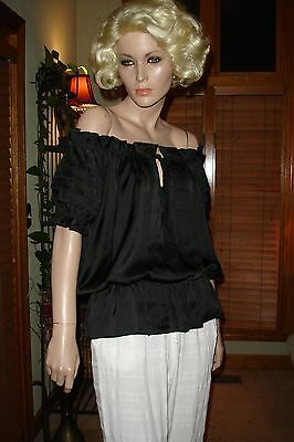 Velvet Black Off The Shoulder Gypsy Romantic Goth Wiccan Top 259 mv Blouse S M L