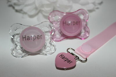 Personalised Dummy *2 X Pink Mam And Dummy Clip* 0+ Months *can Be Sterilised*
