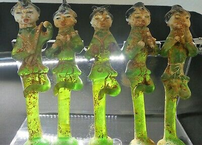 X-RARE Set of 5 Chinese Tang Dyn. Buddhist Translucent Green Glass Musicians!