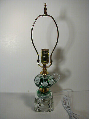 TABLE LAMP MADE from St Clair glass, candle holder white & green