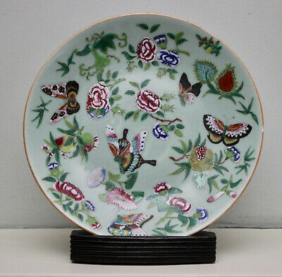 A Fine Antique c19th Chinese Celadon Butterfly Plate, Famille Rose, SIGNED