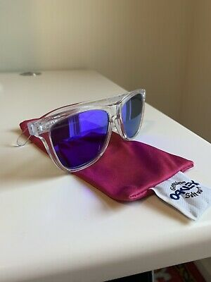 14c1448eb7e Oakley Frogskins Sunglasses 24-305 Polished Clear Frame w Violet Iridium  Lenses