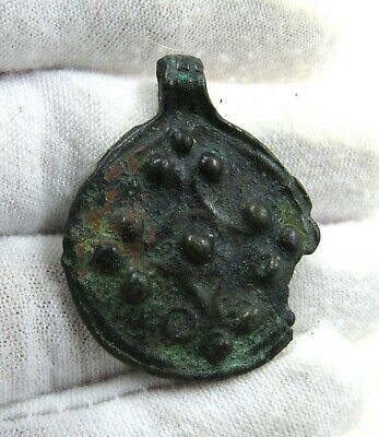 Authentic Medieval Viking Era Bronze Astrological Pendant - J487