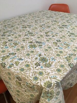 """60s 70s VTG Tablecloth 79"""" X 60"""" Blue Green Linen Floral Mid Century Fabric"""
