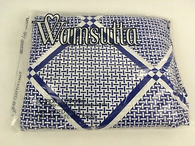 VTG Sealed NEW Twin Fitted Bed Sheet Wamsutta Ultracale Blue Geometric NOS 70s
