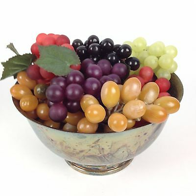 7 Bunches VTG Artificial Realistic Rubber Grapes Watson WP104 Silver Bowl Retro