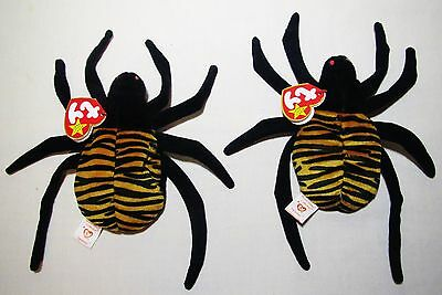 Ty Beanie Bag Babies Plush Stuffed Spider Spinner Toy Lot PVC 1996 Tag 5th Gen
