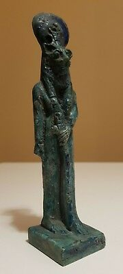 Rare Antique Ancient Egyptian Goddess SEKHMET Faience Statue Blue Glazed 300 BC