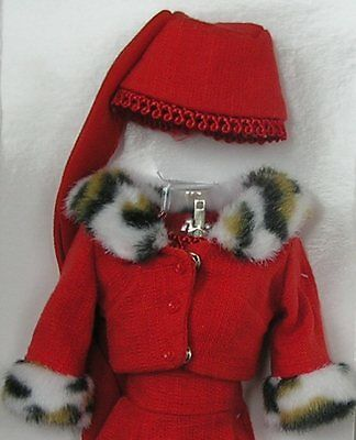 Barbie Red Matinee Fashion REPRODUCTION vintage dress hat jacket fits Silkstone